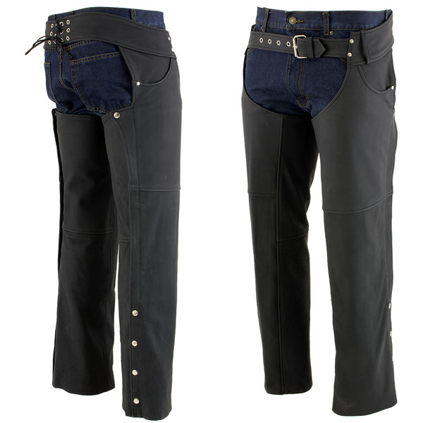 Xelement XS15000 Men's 'Tedious' Flat Black Leather Black Chaps with Jean Pockets - Xelement Mens Leather Chaps
