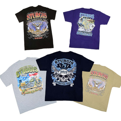 Biker Clothing Co. XS16001 Men's 2019 'Sturgis' Assorted 5 Shirts for $40.00 T-Shirts - Biker Clothing Co. Shirts