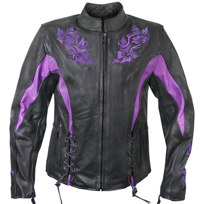 Xelement XS2027 'Gemma' Women's Black and Purple Leather Embroidered Jacket with Armor - Xelement Womens Leather Jackets