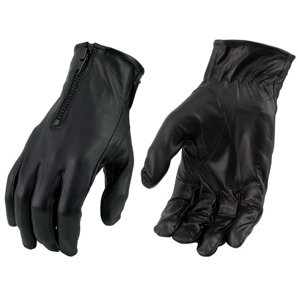 Men's XG2054 Black Biker Leather Motorcycle Riding Gloves - Genuine Leather Men's Leather Gloves