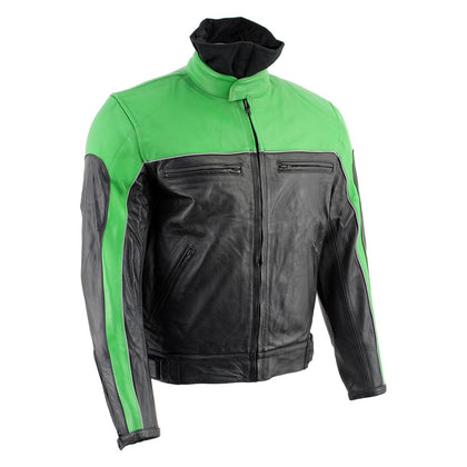 Leather King XS2126 Men's Green and Black 'Moto' Biker Jacket - Leather King Mens Leather Jackets