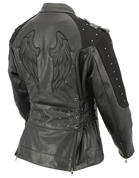 Xelement XS22001 'Scuba' Ladies Leather Jacket with Reflective Wings and Studs - Xelement Womens Leather Jackets