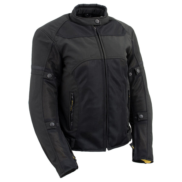 Xelement 'Gold Series' XS22005 Ladies 'Cool Racer' Black Textile and Soft-Shell Scooter Jacket with X-Armor