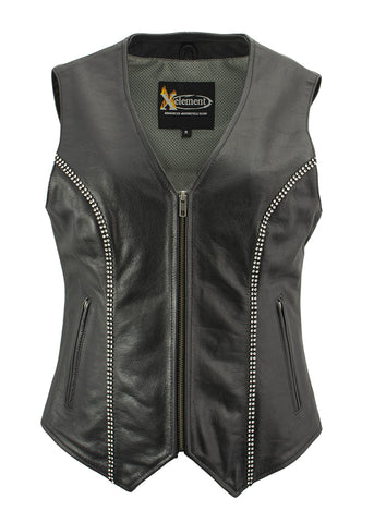 Black, Small Event Leather Womens 9 Patches Vest