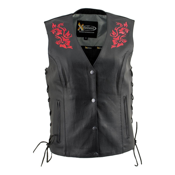 Xelement XS24006 Ladies 'Gemma' Black and Red Leather Vest with Side Lace Adjustment - Xelement Womens Leather Vests