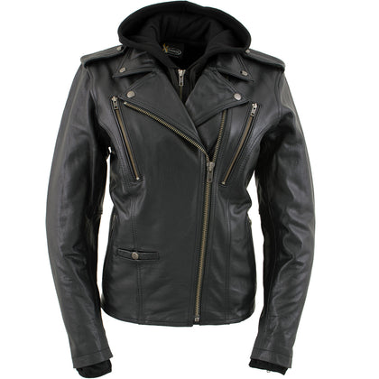 Xelement XS2516 'Madame' Ladies Black Vented MC Label Leather Jacket with Hoodie