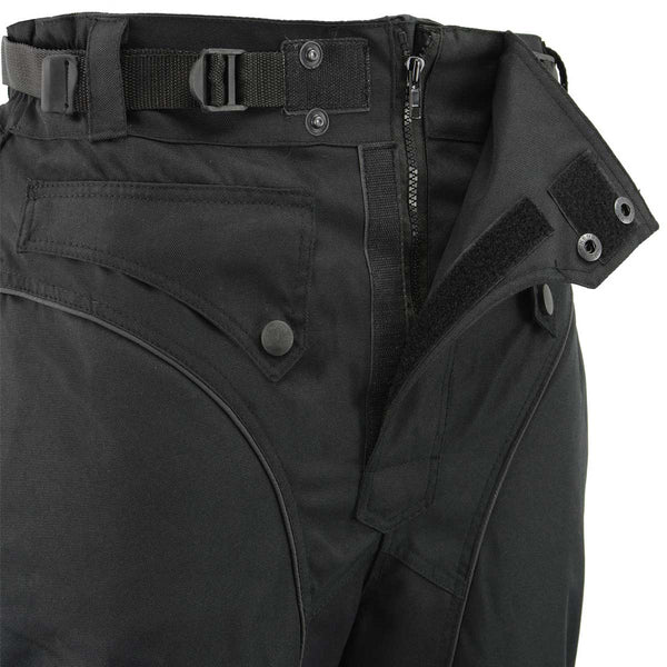 Men's XS2821 Black Water-Resistant Nylon Racing Over Pants - Genuine Leather Mens Textile Over Pants
