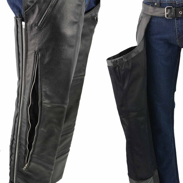 Men's XS303 Black Jean Style Vented Leather Chaps with Reflective Material - Genuine Leather Mens Leather Chaps