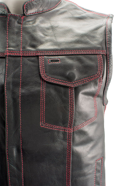 Xelement XS3449 'Paisley' Men's Black Leather Motorcycle Vest with Red Stitching - Xelement Mens Leather Vests