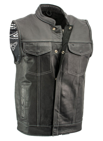 Xelement XS3450 'Paisley' Men's Black Leather Motorcycle Vest with White Stitching - Xelement Mens Leather Vests