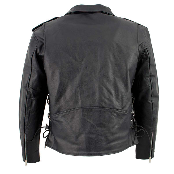 Men's XS400T Tall Size Black Classic Side Lace Police Style Motorcycle Jacket - Genuine Leather Mens Leather Jackets