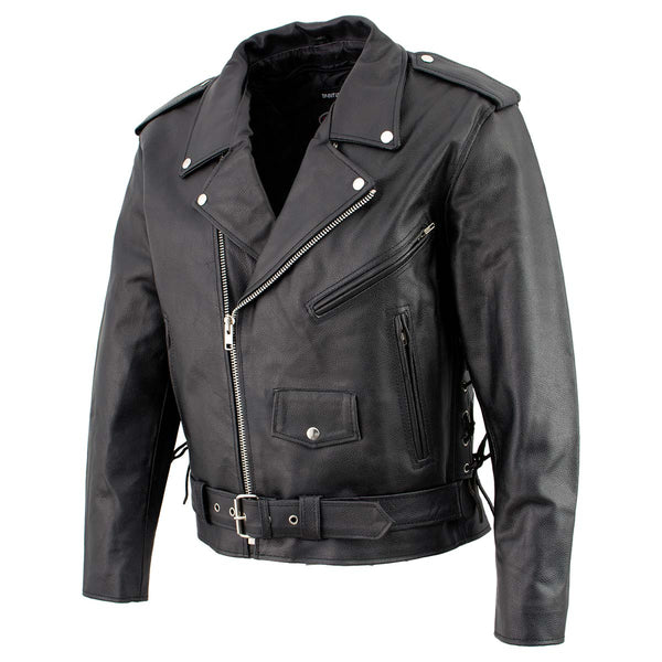 Men's XS400 Black Classic Side Lace Police Style Motorcycle Jacket - Genuine Leather Mens Leather Jackets