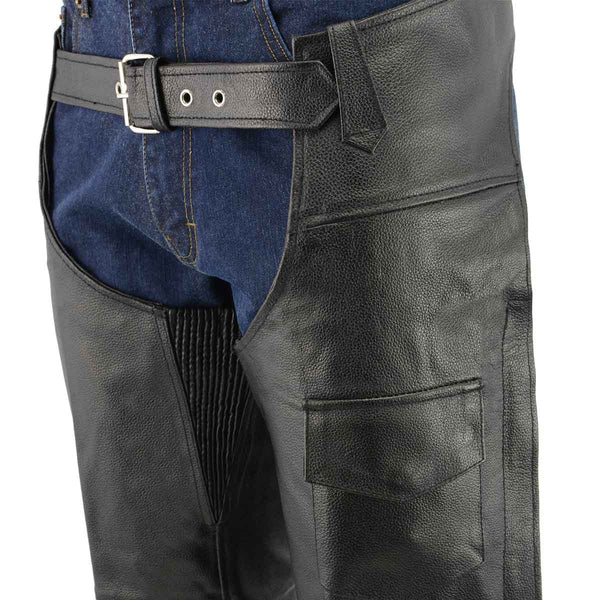 Men's XS401 Classic Black Leather Motorcycle Chaps with Outside Flap Pocket - Genuine Leather Mens Leather Chaps