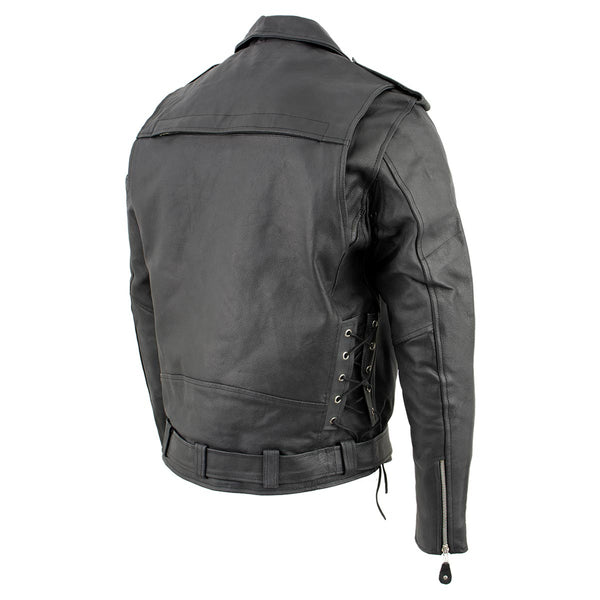 Genuine Leather XS403 Men's Black Classic Vented Biker Jacket with Side Laces - Genuine Leather Mens Leather Jackets