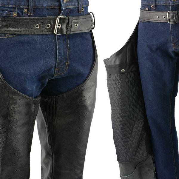 Men's XS432 Classic Black Thermal Lined Leather Motorcycle Chaps with Jean Style Pockets - Genuine Leather Mens Leather Chaps