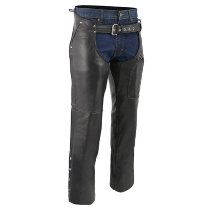 Men's XS43401 Black Thermal Lined 3 Pocket Leather Motorcycle Chaps
