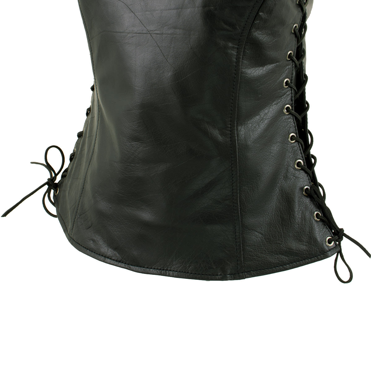 Xelement XS4505 /'Flannel/' Women/'s Black Leather Vest with Snap Button Closure X-Small