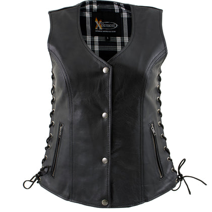 Xelement XS4505 'Flannel' Women's Black Leather Vest with Snap Button Closure - Xelement Womens Leather Vests