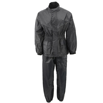 NexGen Ladies XS5001 Black Water Proof Rain Suit with Reflective Piping - NexGen Womens Rain Suits