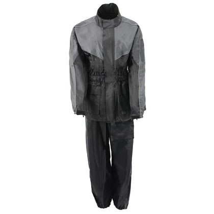 NexGen Ladies XS5001 Black and Grey Water Proof Rain Suit with Reflective Piping - NexGen Womens Rain Suits