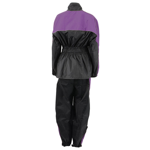 NexGen Ladies XS5001 Black and Purple Water Proof Rain Suit with Reflective Piping - NexGen Womens Rain Suits