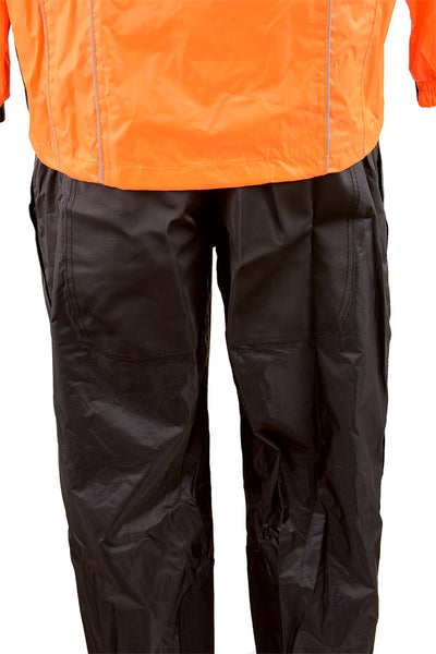 NexGen Men's XS5020 Orange and Black Hooded Hi Visibility Water Proof Rain Suit with Reflective Piping - NexGen Mens Rain Suits