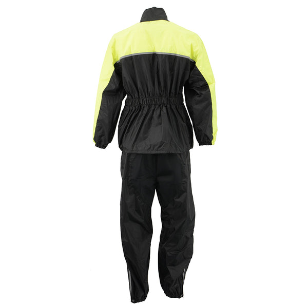 NexGen Ladies XS5031 Yellow and Black Hi-Viz Water Proof Rain Suit with Cinch Sides - NexGen Womens Rain Suits