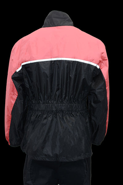 NexGen Ladies XS5031 Pink and Black Water Proof Rain Suit with Cinch Sides - NexGen Womens Rain Suits