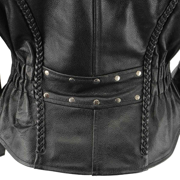 Ladies XS657 Black Classic Braided Motorcycle Leather Jacket - Genuine Leather Ladies Leather Jackets