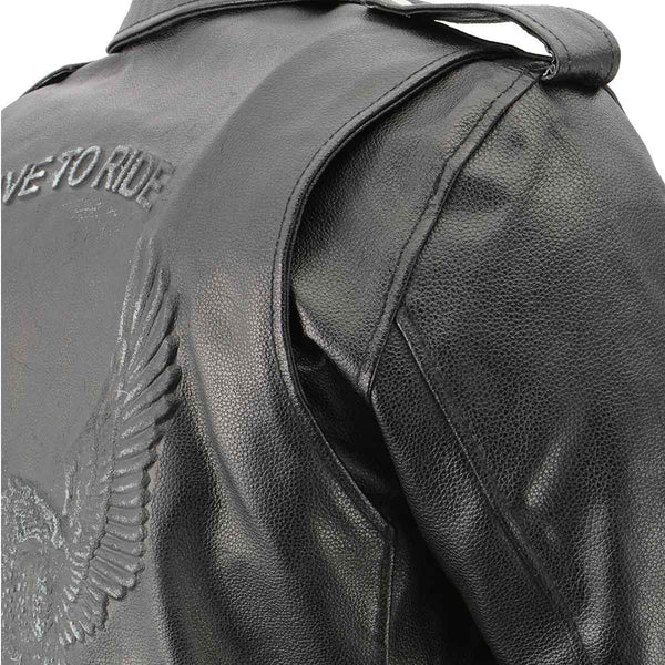 Men's XS703 Black Embossed 'Live to Ride, Ride to Live' Classic Motorcycle Jacket - Genuine Leather Mens Leather Jackets