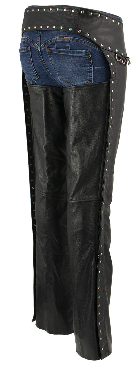 Xelement XS7590 Ladies Black Classic Leather Chaps with Rivet Design Medium