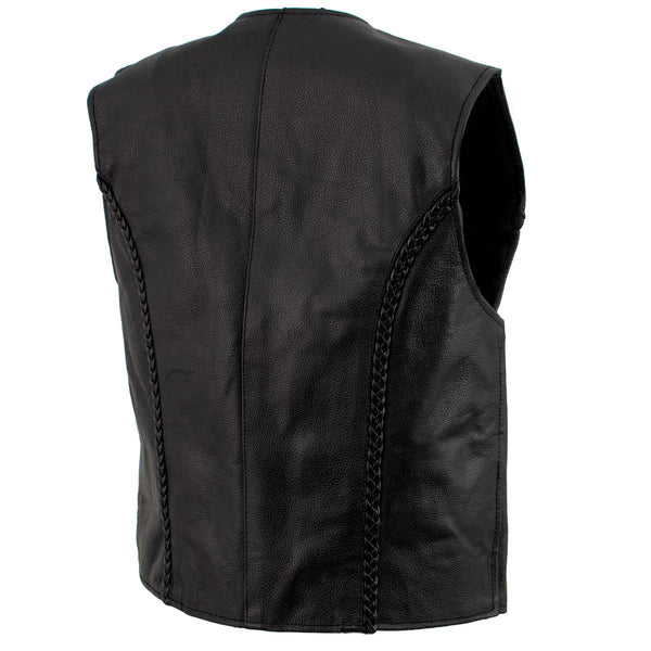 Ladies XS776 Black Braided Motorcycle Vest with Zipper Closure - Genuine Leather Womens Leather Vests