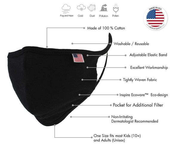 Xelement XS8002 USA Made '100 % Cotton' Black Protective Face Mask - Xelement Face Masks