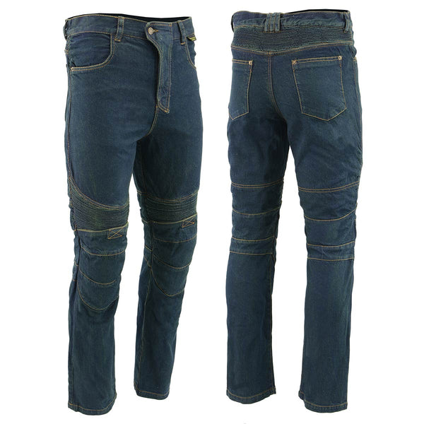 Men's XS2822 Blue Denim Motorcycle Pants with CE Approved Armor - Genuine Leather Mens Denim Pants