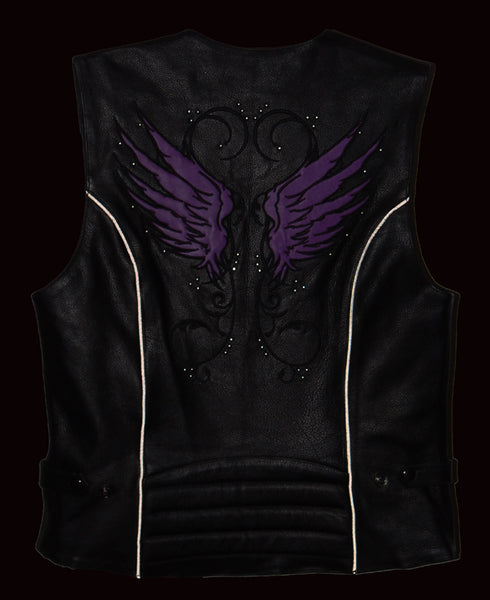 Milwaukee Leather XS1293 Ladies 'Winged' Black and Pink Studded Leather Vest - Milwaukee Leather Womens Leather Vests