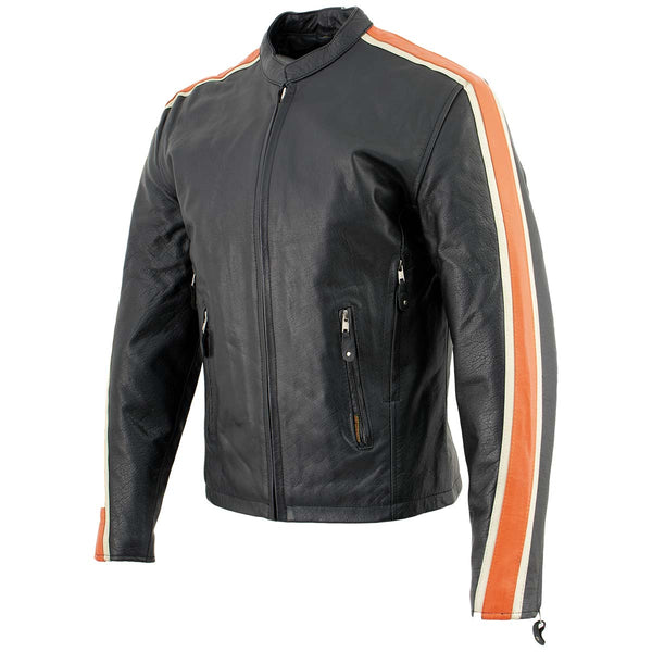 Hot Leathers XSM1007 Men's Black Motorcycle Jacket with Orange and Cream Stripes - Hot Leathers Mens Leather Jackets