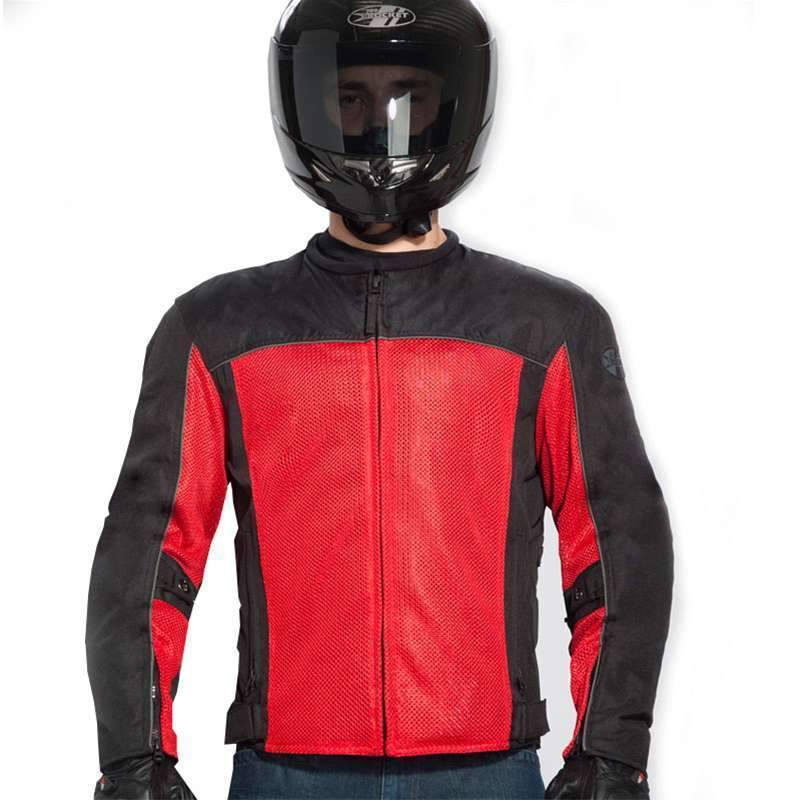 Joe Rocket 'Velocity' Mens Black/Red Mesh Motorcycle Jacket