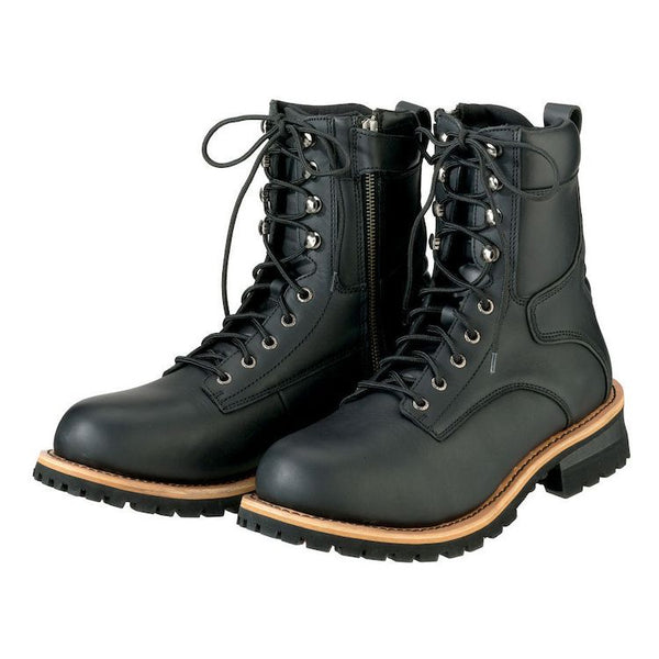 ZR1 M4 'Classic' Men's Black Logger Lace-Up Boots with Inside Zipper