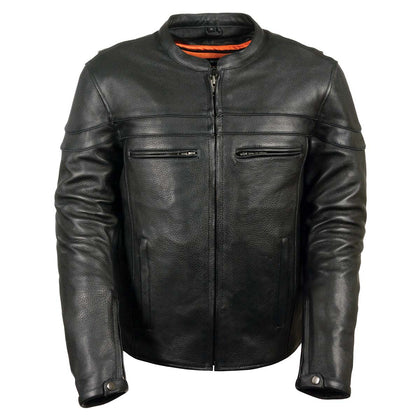 Z1R1408 Men's '45' Black Sport Vented Black Leather Moto Jacket - Z1R Mens Leather Jackets
