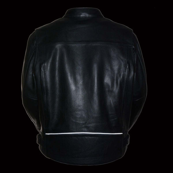 Z1R1540 Men's '357' Classic Collarless Black Leather Jacket - Z1R Mens Leather Jackets