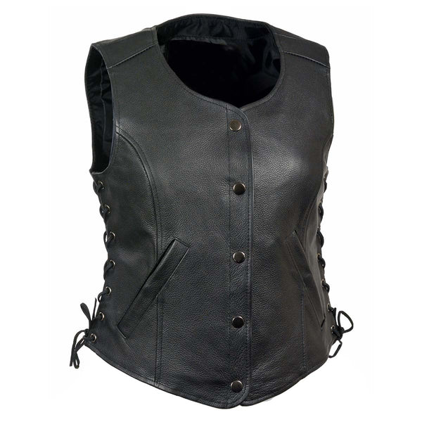 Z1R1291 Ladies Black 'Colt' Classic Leather Vest with Side Laces