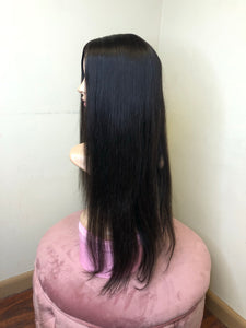 "22"" silky straight lace closure wig"