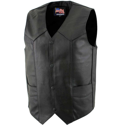 USA Leather 1201 'Club' Men's Black Leather Vest