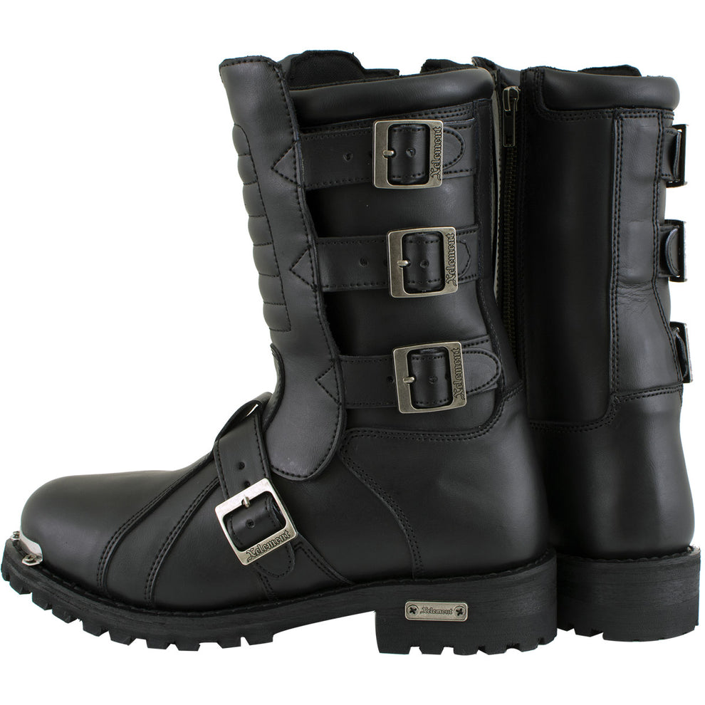 Xelement Mens 1503 Black Executioner Top Grain Heavy Leather Motorcycle Boots