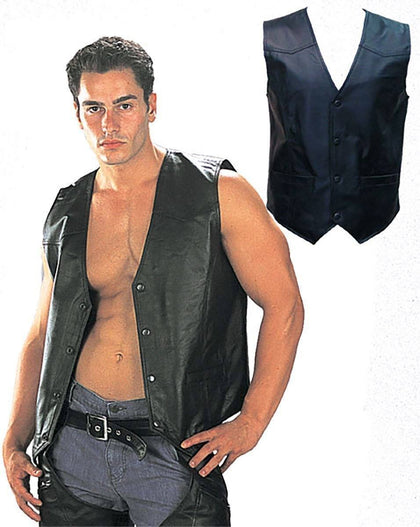 USA Leather 201 Classic Style Black Leather Vest with Snap Button Closure