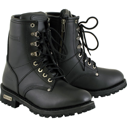 Xelement 2446 'Vigilant' Women's Black Logger Boots with Inside Zipper