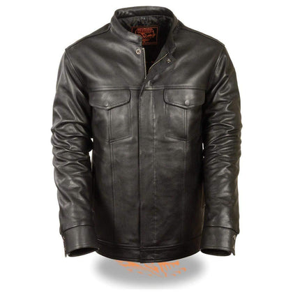Milwaukee Leather MLM1610 Men's Club Style Zipper and Snap Front Black