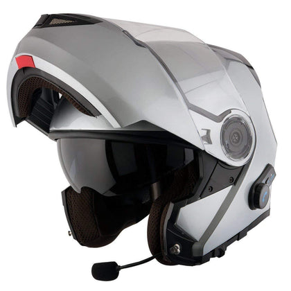 Hawk H-7015 Solid Gloss Gray Modular Motorcycle Helmet with Blinc Bluetooth
