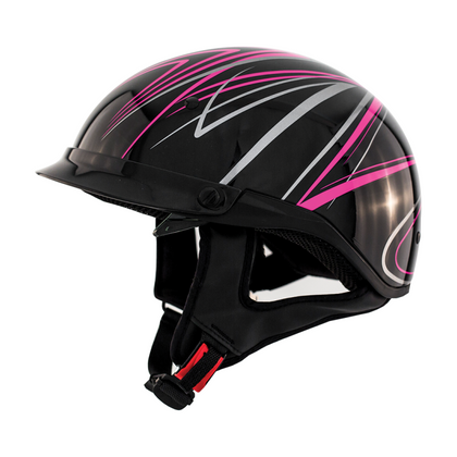 ZOX ST-235A 'Roadster DDV' Pink Motorcycle Half Helmet with Drop Down Visor