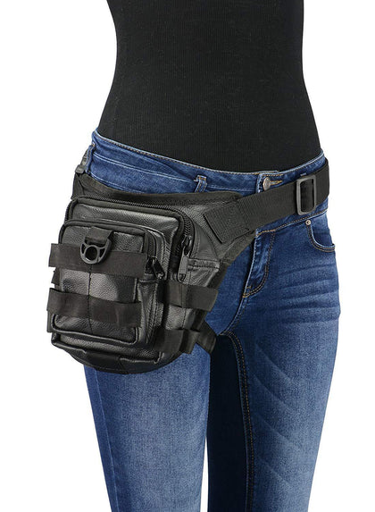 Milwaukee Leather MP8840 Black Leather Conceal and Carry Tactical Thigh Bag with Waist Belt
